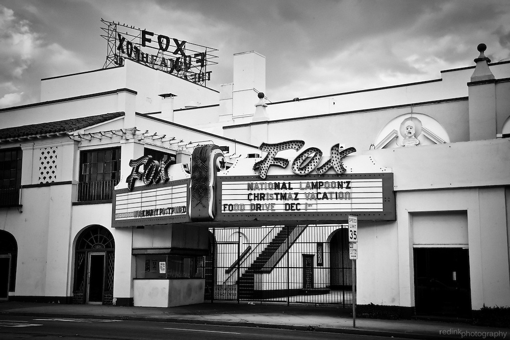 Historic Fox Fullerton Theater in downtown Fullerton. Marquee displays showing of Christmas Vacation. Black and White. Fullerton, CA.