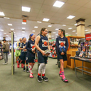The Kennett Crush Players Olivia O'Hara (11), Bridget Mcmanamon (11), Emily O'Hara (11), Quinn Simmons (10) and Ellie C, Soriano (10) wait in line at Elena Delle Donne signing Saturday, March 10, 2018, at Barnes and Noble in Wilmington Delaware.