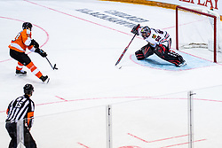 Oskar Lindblom of Philadelphia Flyers  and Corey Crawford of Chicago Blackhawks during NHL game between teams Chicago Blackhawks and Philadelphia Flyers at NHL Global Series in Prague, O2 arena on 4th of October 2019, Prague, Czech Republic. Photo by Grega Valancic / Sportida