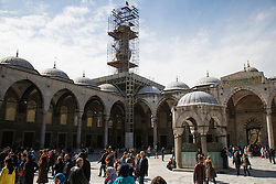 Construction on one of the minarets at the Blue Mosque, known locally at Sultanahmet, in Istanbul Turkey.
