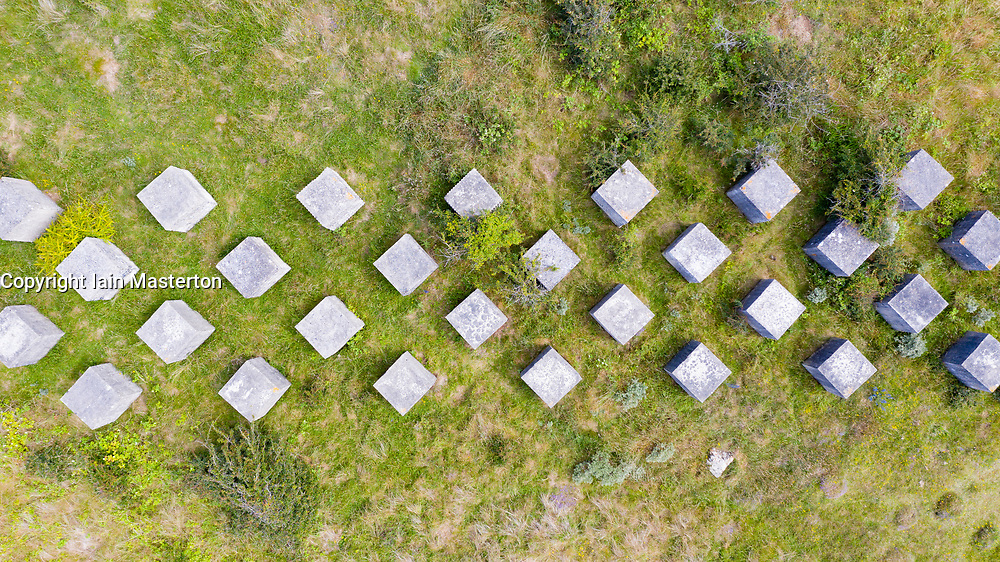 Aerial view of Second World War era anti-tank blocks at Gullane Sands in East Lothian, Scotland, UK