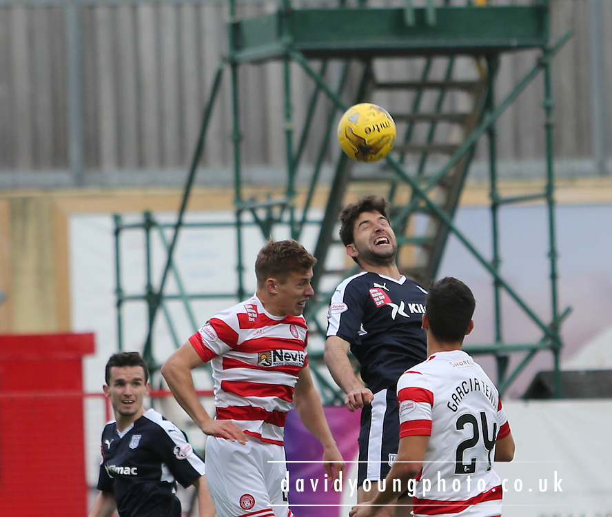 Dundee&rsquo;s Kostadin Gadzhalov outjumps Hamilton Academical's Greg Docherty  - Hamilton Academical v Dundee, Ladbrokes Premiership at New Douglas Park<br /> <br /> <br />  - &copy; David Young - www.davidyoungphoto.co.uk - email: davidyoungphoto@gmail.com