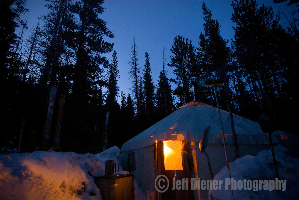 "The Wallowa Alpine Hut's ""dining/cook"" yurt at McCully Basin Camp.  Wallowa Mountains, Eagle Cap Wilderness Area, Oregon."
