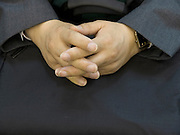 hands of a middle aged Japanese male business person