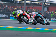 #35 Cal Crutchlow, British: LCR Honda Castrol leads #20 Fabio Quatararo, French: Petronas Yamaha SRT during racing on the Bugatti Circuit at Le Mans, Le Mans, France on 19 May 2019.