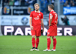 28.02.2015, Rhein Neckar Arena, Sinsheim, GER, 1. FBL, TSG 1899 Hoffenheim vs 1. FSV Mainz 05, 23. Runde, im Bild <br />Johannes Geis 1. FSV Mainz 05 (links) und Pierre Bengtsson 1. FSV Mainz 05 (rechts) enttaeuscht Enttaeuschung nach Spielende vor Bande Bandenwerbung PARTNER<br /><br />TSG 1899 Hoffenheim gegen FSV Mainz 05<br />Fussball Herren GER <br />1. Bundesliga Spieltag 23<br />23. Spieltag<br />Saison 2014 2015 Sinsheim-Hoffenheim Wirsol Rhein-Neckar-Arena<br />28.02.2015, Foto: Eibner // during the German Bundesliga 23rd round match between TSG 1899 Hoffenheim and 1. FSV Mainz 05 at the Rhein Neckar Arena in Sinsheim, Germany on 2015/02/28. EXPA Pictures © 2015, PhotoCredit: EXPA/ Eibner-Pressefoto/ Weber<br /> <br /> *****ATTENTION - OUT of GER*****