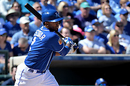 SURPRISE, AZ - MARCH 06:  Alcides Escobar #2 of the Kansas City Royals singles in the second inning against the Arizona Diamondbacks in the spring training game at Surprise Stadium on March 6, 2017 in Surprise, Arizona.  (Photo by Jennifer Stewart/Getty Images)
