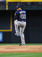 May 19 2011; Phoenix, AZ, USA; Atlanta Braves starting pitcher Jair Jurrjens (49) delivers a pitch during the first inning against the Arizona Diamondbacks at Chase Field. Mandatory Credit: Jennifer Stewart-US PRESSWIRE..