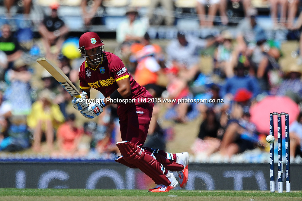 West Indies player Lendl Simmons during the 2015 ICC Cricket World Cup match between West Indies and Ireland. Saxton Oval, Nelson, New Zealand. Monday 16 February 2015. Copyright Photo: Chris Symes / www.photosport.co.nz