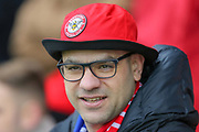 Brentford football fan, football supporter during The FA Cup match between Brentford and Leicester City at Griffin Park, London, England on 25 January 2020.