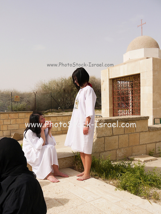 Israel, Jordan River, Near Jericho, Qasr al Yahud. Orthodox Christians before the baptising ritual