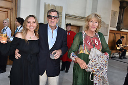 Ayesha Shand, Simon Elliot and Annabel Elliot at the Concours d'éléphant in aid of Elephant Family held at the Royal Hospital Chelsea, London, England. 28 June 2018.