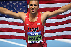 08.03.2014, Ergo Arena, Sopot, POL, IAAF, Leichtathletik Indoor WM, Sopot 2014, im Bild Ashton Eaton (USA) defends his title of World Indoor Champion, heptathlon Silver medal for Andrei Krauchanka (Belarus), bronze for Thomas Van Der Plaetsen (Belgium) // Ashton Eaton (USA) defends his title of World Indoor Champion, heptathlon Silver medal for Andrei Krauchanka (Belarus), bronze for Thomas Van Der Plaetsen (Belgium) during day two of IAAF World Indoor Championships Sopot 2014 at the Ergo Arena in Sopot, Poland on 2014/03/08. EXPA Pictures © 2014, PhotoCredit: EXPA/ Newspix/ Michal Fludra<br /> <br /> *****ATTENTION - for AUT, SLO, CRO, SRB, BIH, MAZ, TUR, SUI, SWE only*****