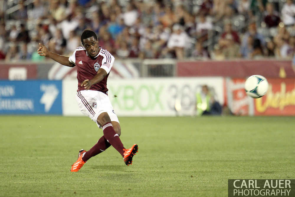 August 17th, 2013 - Colorado Rapids forward Deshorn Brown (26) launches a shot on goal in second half action of the Major League Soccer match between the Vancouver Whitecaps FC and the Colorado Rapids at Dick's Sporting Goods Park in Commerce City, CO