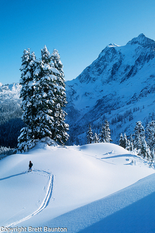 Mt. Shuksan, WA, USA.Cross country skiing..Winter, North Cascades..Brett Baunton