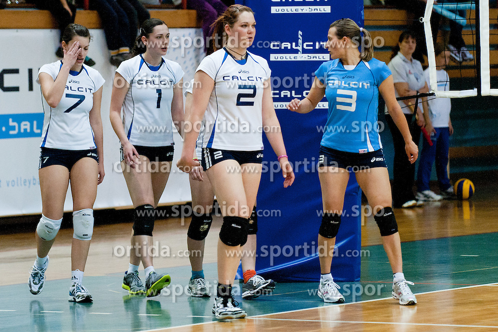 Calcit Volleyball players during volleyball second match in final of playoff between Calcit Volleyball and OK Nova KBM Branik in Slovenian National League on April 13, 2011 at Sportna dvorana, Kamnik, Slovenia. (Photo By Matic Klansek Velej / Sportida.com)