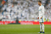 Real Madrid's Portuguese forward Cristiano Ronaldo reacts during the Spanish championship Liga football match between Real Madrid and Villarreal on January 13, 2018 at Santiago Bernabeu stadium in Madrid, Spain - Photo Benjamin Cremel / ProSportsImages / DPPI