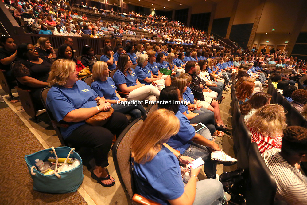 Teachers with the Tupelo Public School District fill the Performing Arts Center of Tupelo High School for the district's end of the year convocation on Monday morning. The convocation celebrates the end of the school year and kicks off May institute.