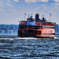 HDR of the Staten Island Ferry leaving Manhattan, New York City.