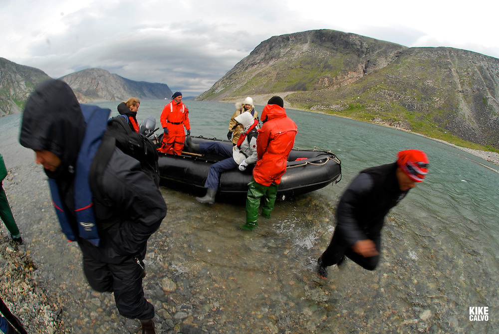 Tourits exploring the Southern part of Baffin Island, Erik Cove, a former site of Hudson Bay Co. post mining company.