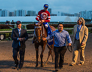 HALLANDALE BEACH, FL - JANUARY 27: Assistant Trainer Scott Blasi leads Gun Runner #10 with Florent Geroux into the winners circle as they talk to trainer Steve Asmussen at Gulfstream Park Race Track on January 27, 2018 in Hallandale Beach, Florida. (Photo by Alex Evers/Eclipse Sportswire/Getty Images)