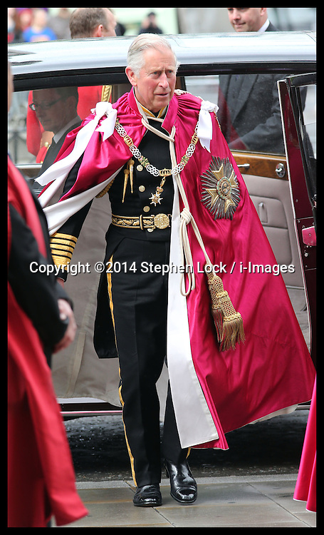 The Prince of Wales arriving for the Order of the Bath Service at Westminster Abbey in London, Friday, 9th May 2014. Picture by Stephen Lock / i-Images
