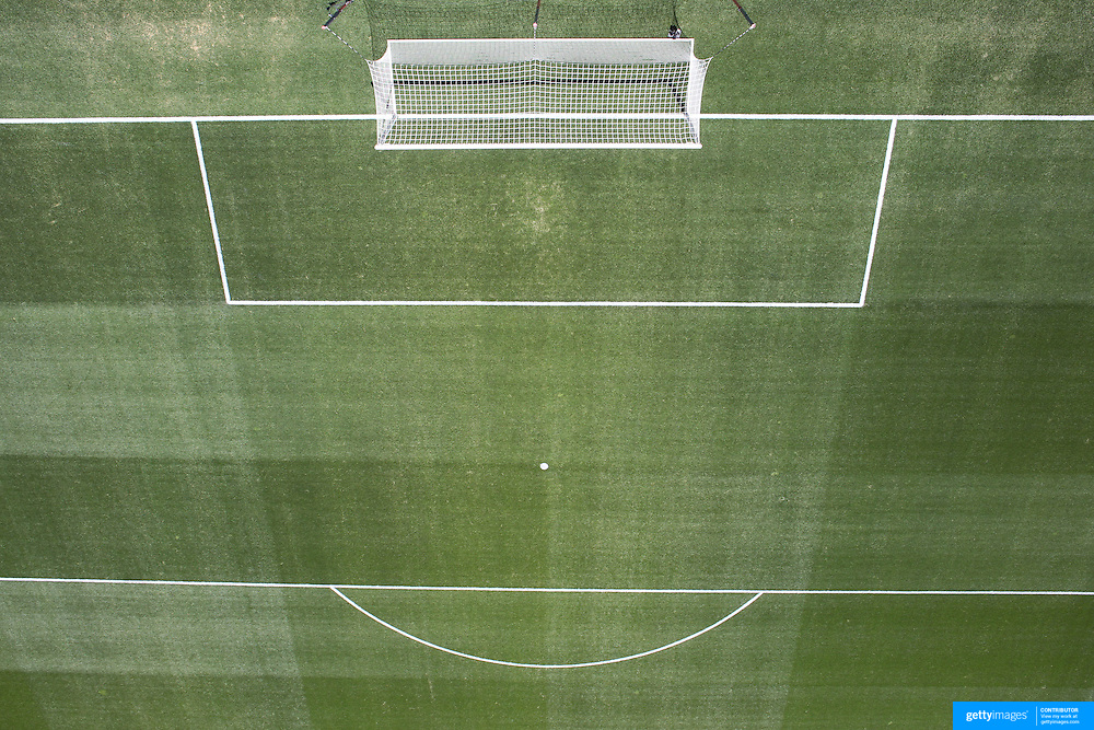 An ariel view of the penalty area, penalty spot, six yard box and goal mouth of a professional football pitch. Photo Tim Clayton