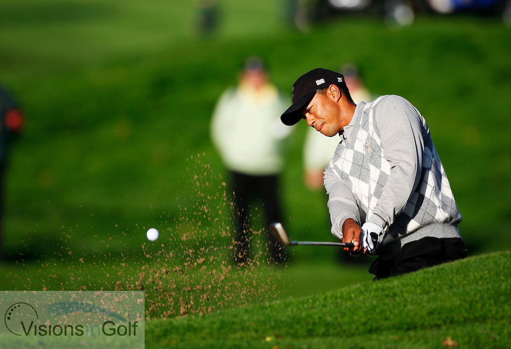 Tiger Woods in the bunker on the 4th on the first morning at the 36th Ryder Cup Matches 2006, K Club, Ireland, 060922<br /> Picture Credit: Mark Newcombe / visionsingolf.com