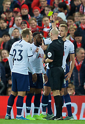 LIVERPOOL, ENGLAND - Sunday, October 27, 2019: Tottenham Hotspur's Danny Rose reacts as referee Anthony Taylor shows him a yellow card during the FA Premier League match between Liverpool FC and Tottenham Hotspur FC at Anfield. (Pic by David Rawcliffe/Propaganda)