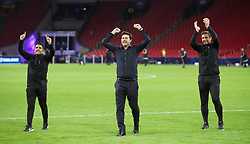 Tottenham Hotspur manager Mauricio Pochettino (centre) celebrates on the pitch after the final whistle