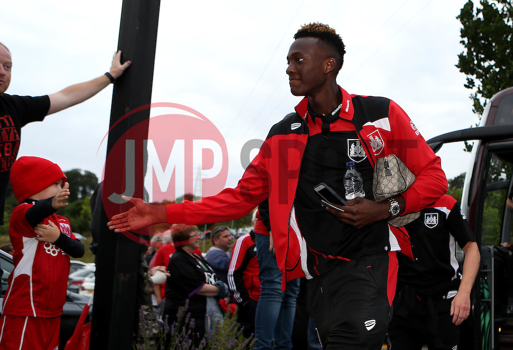 Tammy Abraham of Bristol City arrives at Wycombe Wanderers for the EFL League Cup 1st Round Match - Mandatory by-line: Robbie Stephenson/JMP - 09/08/2016 - FOOTBALL - Adams Park - High Wycombe, England - Wycombe Wanderers v Bristol City - EFL League Cup