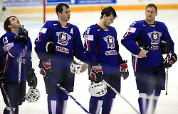 Slovenian team (Rok Pajic, Tomaz Razingar, Ales Kranjc, Uros Vidmar) sad after ice-hockey game Slovenia vs Slovakia at second game in  Relegation  Round (group G) of IIHF WC 2008 in Halifax, on May 10, 2008 in Metro Center, Halifax, Nova Scotia, Canada. Slovakia won after penalty shots 4:3.  (Photo by Vid Ponikvar / Sportal Images)