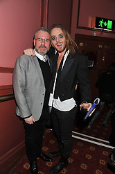 Left to right, CHRIS MOYLES and comedian TIM MINCHIN at the opening night performance of The Rocky Horror Show, This performance is to celebrate the 40th Anniversary UK Tour, at The New Wimbledon Theatre, Wimbledon, London SW19 on 21st January 2013.