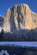 El Capitan, Winter, Snow, Merced River, granite, Yosemite, Yosemite National Park, California