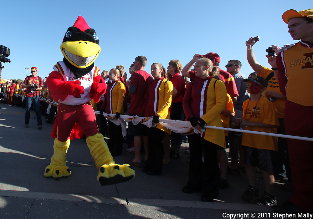 September 10, 2011: Iowa State mascot Cy walks with the team before the start of the game between the Iowa Hawkeyes and the Iowa State Cyclones during the Iowa Corn Growers Cy-Hawk game at Jack Trice Stadium in Ames, Iowa on Saturday, September 10, 2011.