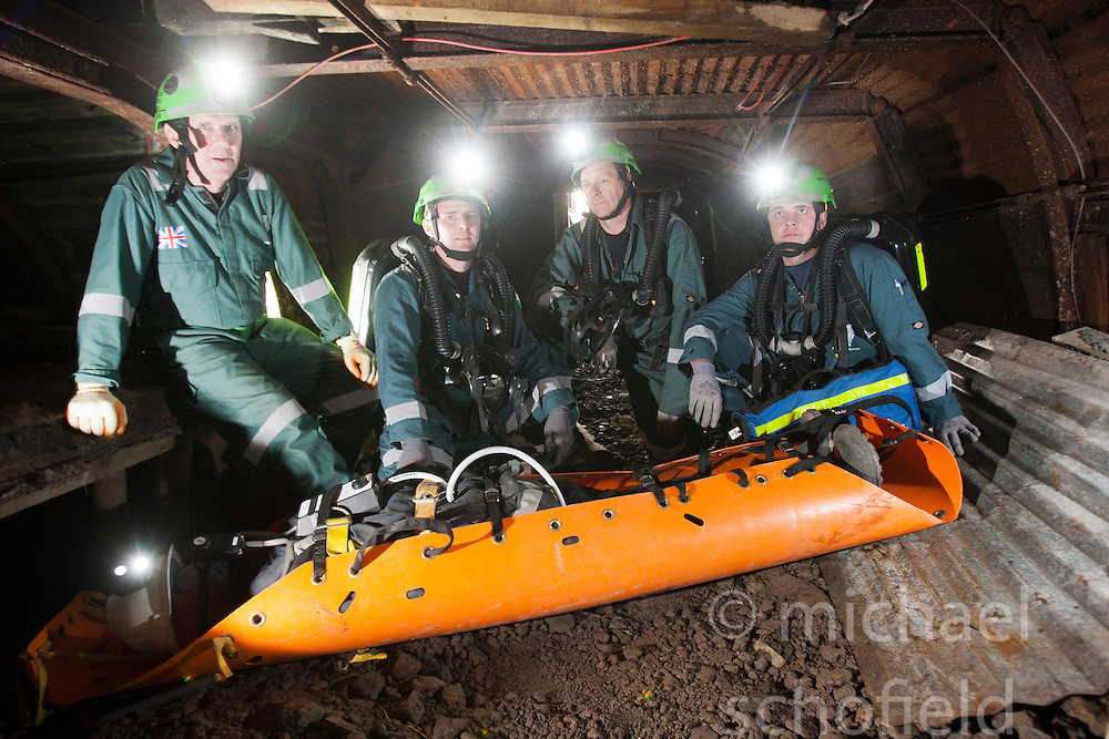 Operations manager Errol Parrish, Liam Parish, Kevin Watts and Aiden Henderson. Mine Rescue Service at Crossgates Training Centre, Crossgates, Fife..Pic © Michael Schofield.