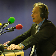 Prime Minister Tony Blair giving a radio interview at The National Media Museum, Bradford.