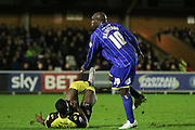 Bayo Akinfenwa of AFC Wimbledon during the Sky Bet League 2 match between AFC Wimbledon and Dagenham and Redbridge at the Cherry Red Records Stadium, Kingston, England on 24 November 2015. Photo by Stuart Butcher.