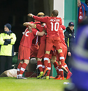 Canada&rsquo;s Fraser Aird is mobbed by team-mates after scoring - Scotland v Canada, friendly international at EasterRoad, Edinburgh.Photo: David Young<br /> <br />  - &copy; David Young - www.davidyoungphoto.co.uk - email: davidyoungphoto@gmail.com