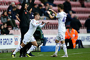 Leeds United midfielder Jamie Shackleton (46) comes on for Leeds United midfielder Mateusz Klich (43) during the EFL Sky Bet Championship match between Wigan Athletic and Leeds United at the DW Stadium, Wigan, England on 4 November 2018.