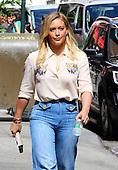 Hilary Duff on set