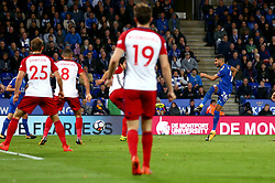 Riyad Mahrez of Leicester City scores a goal to make it 1-1 - Mandatory by-line: Robbie Stephenson/JMP - 16/10/2017 - FOOTBALL - King Power Stadium - Leicester, England - Leicester City v West Bromwich Albion - Premier League
