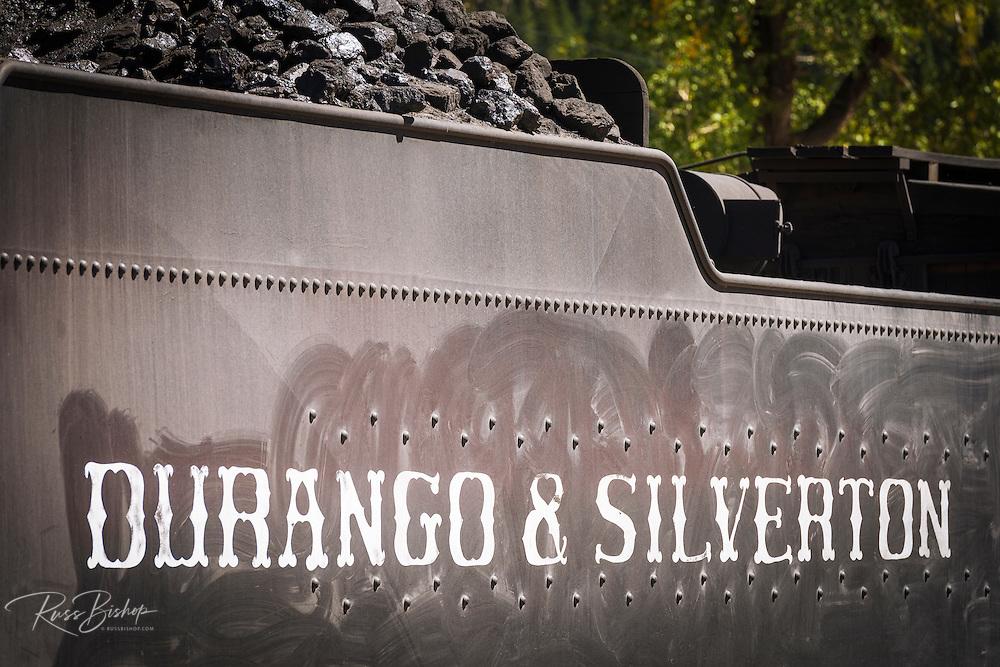 Coal car on the Durango & Silverton Narrow Gauge Railroad, Silverton, Colorado USA
