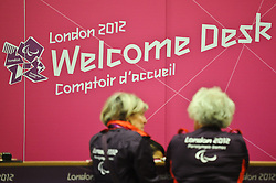 © Licensed to London News Pictures. 22/08/2012. London,UK.Paralympic welcome logo at Heathrow airport. Athletes from all around the world are expected to arrive at the Heathrow airport for the London 2012 Paralympic Games .  Photo credit : Thomas Campean/LNP..