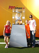 Jan 24, 2018; Kissimmee, FL, USA; NFL fans pose with the Pro Bowl trophy during 2018 Pro Bowl at ESPN Wide World of Sports Complex. (Steve Jacobson/Image of Sport)