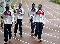 Friidrett , 13. juli 2006 , Gøteborg , EM ,<br /> Europamesterskapet ,<br /> Athletics , European  Championship <br /> 396   Dwain Chambers ,     <br /> 398  Marlon Devonish ,      <br />  412  Mark Lewis-Francis ,   <br />   395  Darren Campbell ,     <br /> GBR , 4x100 m