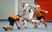 ARNHEM - Floris Evers,, in de zaal uitkomend voor Rood-Wit,  tijdens de eerste dag van de zaalhockey competitie in de hoofdklasse, seizoen 2013/2014. FOTO KOEN SUYK