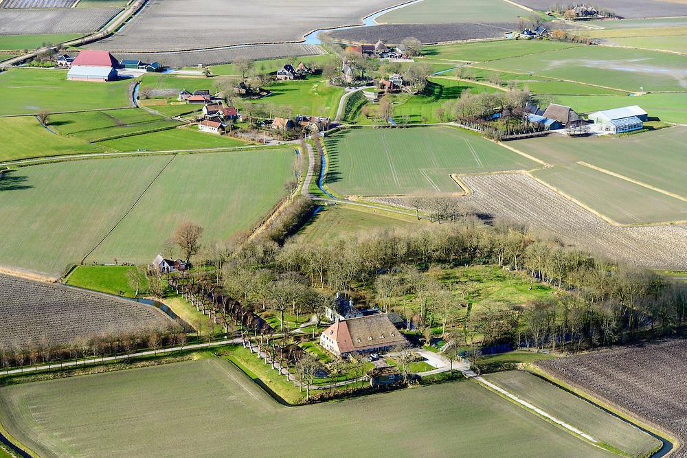 Nederland, Friesland, Gemeente Ferweradeel, 28-02-2016; Hogebeintum Harsta State met naastgelegen boerderij. De State is een stins, historisch landhuis. Hegebeintum (Hogebeintum) in de achtergrond.<br /> Harsta mansion with adjacent farm, northern Friesland.<br />  <br /> luchtfoto (toeslag op standard tarieven);<br /> aerial photo (additional fee required);<br /> copyright foto/photo Siebe Swart