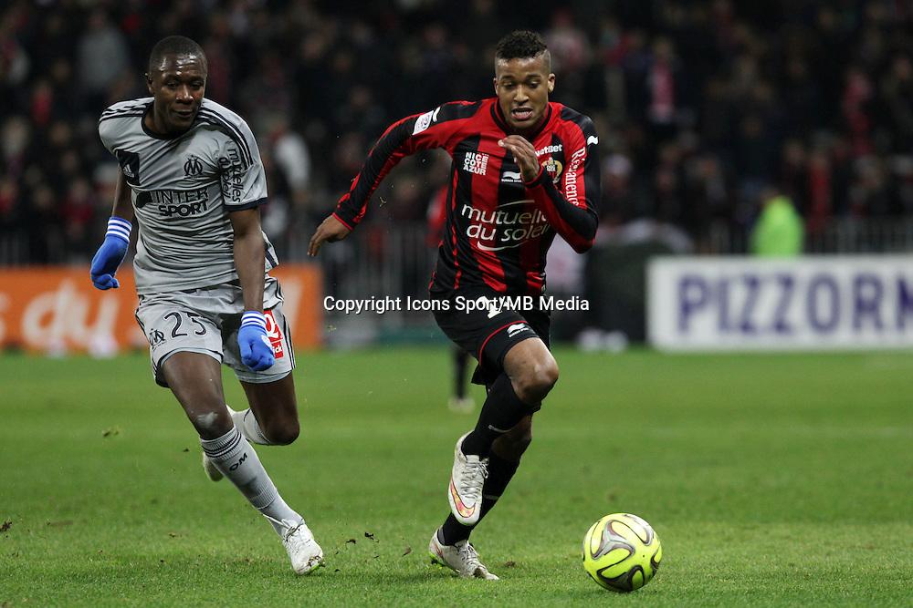 Giannelli IMBULA / Alassane PLEA  - 23.01.2015 - Nice / Marseille - 22eme journee de Ligue 1<br />Photo : Jean Christophe Magnenet / Icon Sport