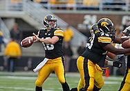 September 17, 2011: Iowa Hawkeyes quarterback James Vandenberg (16) looks to throw during the first half of the game between the Iowa Hawkeyes and the Pittsburgh Panthers at Kinnick Stadium in Iowa City, Iowa on Saturday, September 17, 2011. Iowa defeated Pittsburgh 31-27.